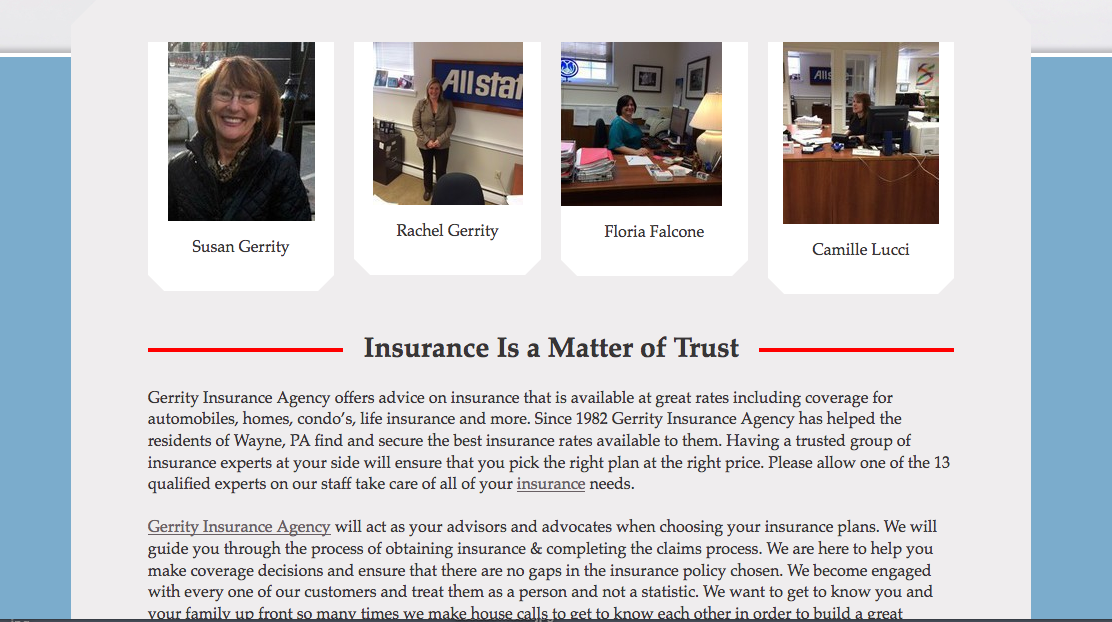 SEO for Gerrity Insurance Agency in Wayne Pa 2