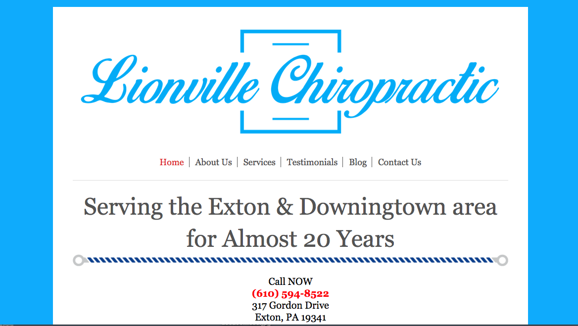 Website Design in Exton Lionville Chiropractic 1