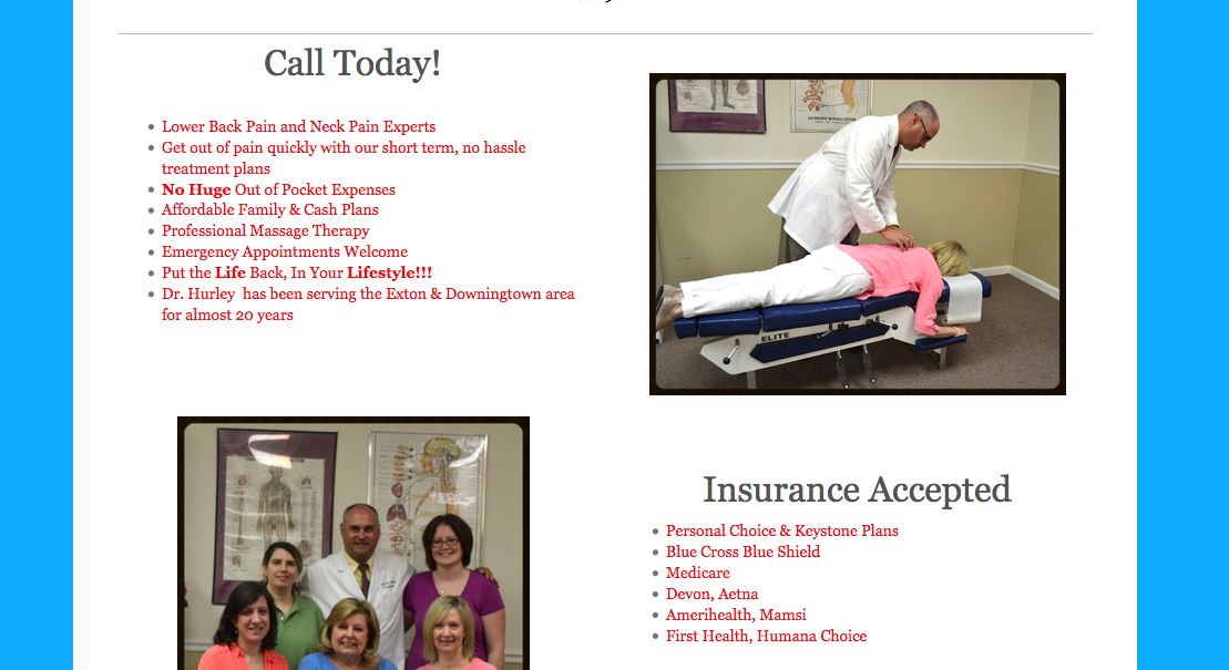 Website Design in Exton Lionville Chiropractic 2