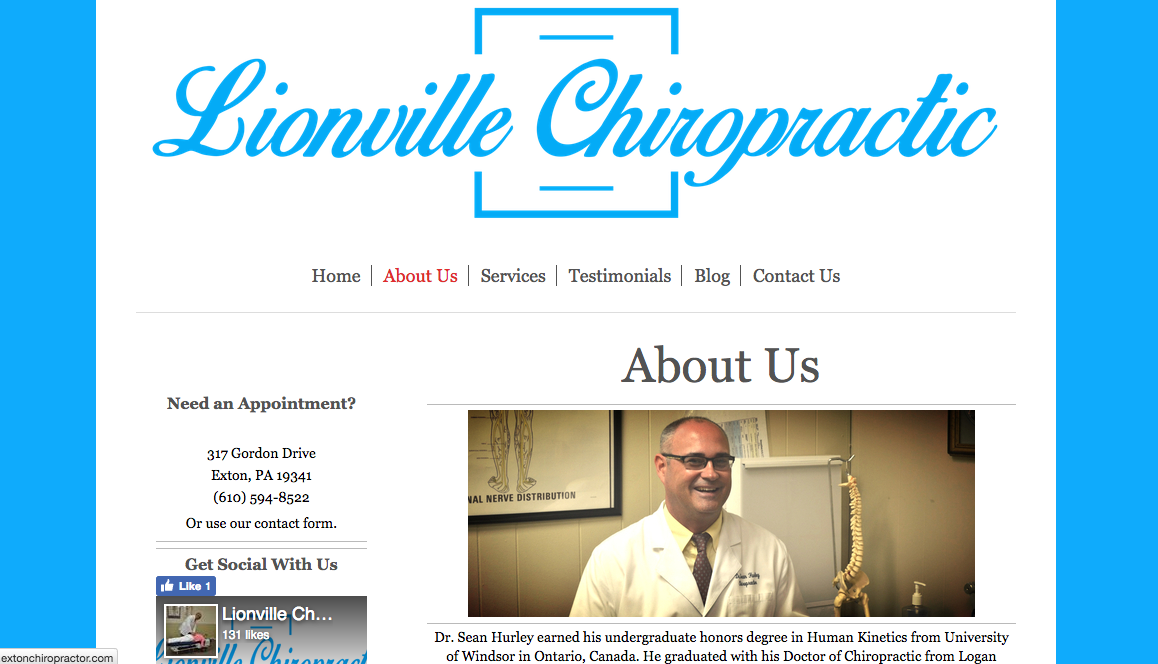 Website Design in Exton Lionville Chiropractic 3